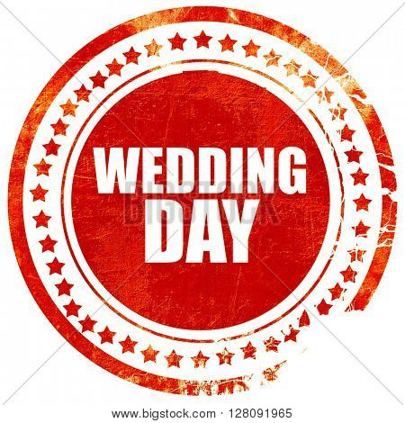 wedding day, grunge red rubber stamp with rough lines and edges