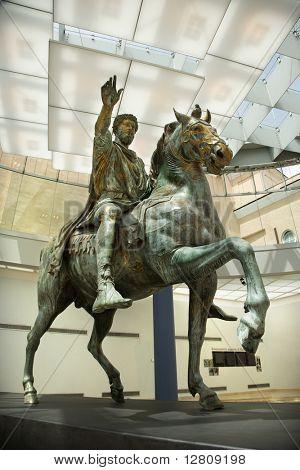 Marcus Aurelius on horse statue in Capitoline Museum, Rome, Italy.