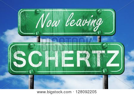 Leaving schertz, green vintage road sign with rough lettering
