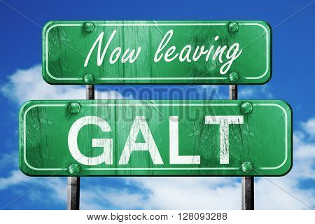 Leaving galt, green vintage road sign with rough lettering