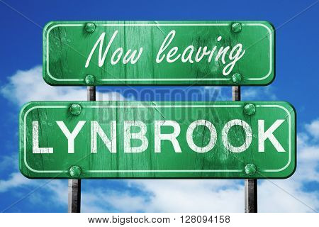 Leaving lynbrook, green vintage road sign with rough lettering