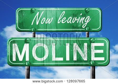 Leaving moline, green vintage road sign with rough lettering