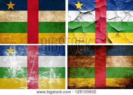Central african republic flag collection. 4 different flags on w