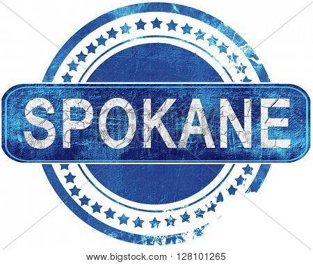 spokane grunge blue stamp. Isolated on white.