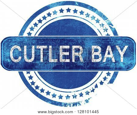 cutler bay grunge blue stamp. Isolated on white.