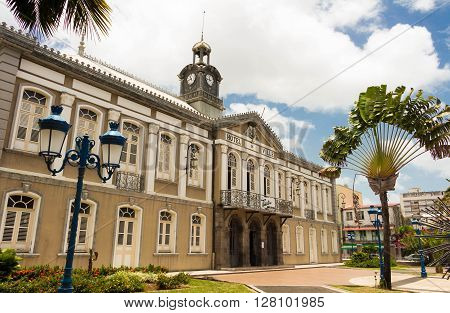 Fort de France French West Indies France-April 28 2016 : The facade of ancient town hall of Fort de France and Aime Cesaire theater.