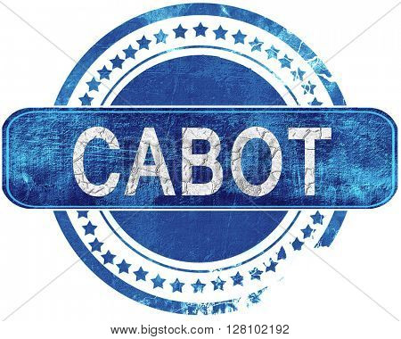 cabot grunge blue stamp. Isolated on white.