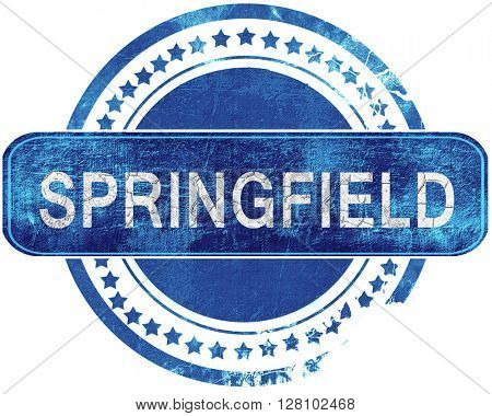 springfield grunge blue stamp. Isolated on white.