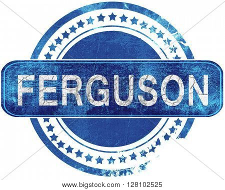 ferguson grunge blue stamp. Isolated on white.