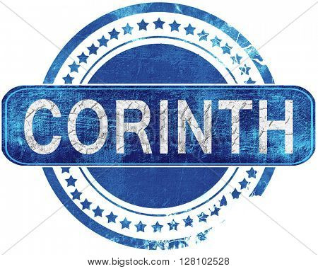 corinth grunge blue stamp. Isolated on white.