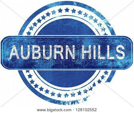 auburn hills grunge blue stamp. Isolated on white.
