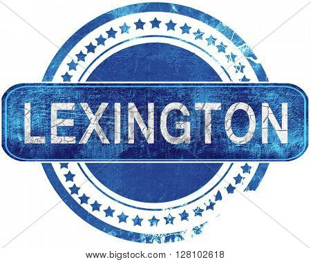 lexington grunge blue stamp. Isolated on white.