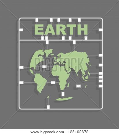 Earth Plastic Model Kit. Continents. World Map