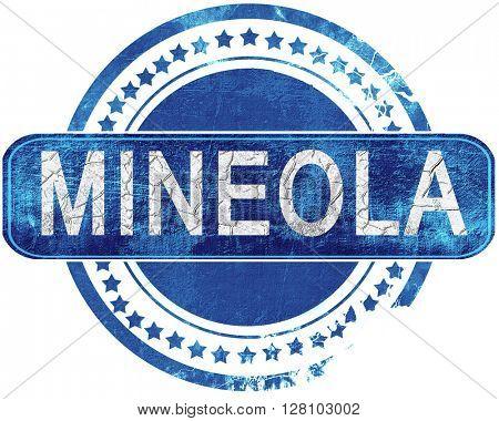 mineola grunge blue stamp. Isolated on white.