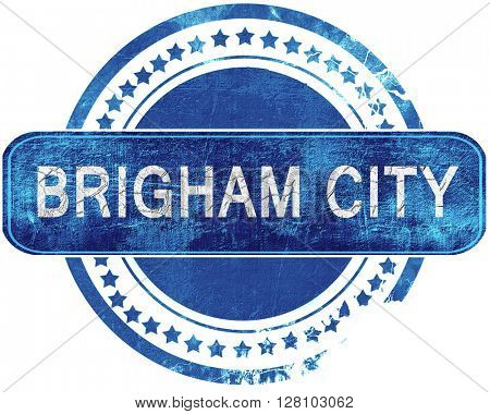 brigham city grunge blue stamp. Isolated on white.