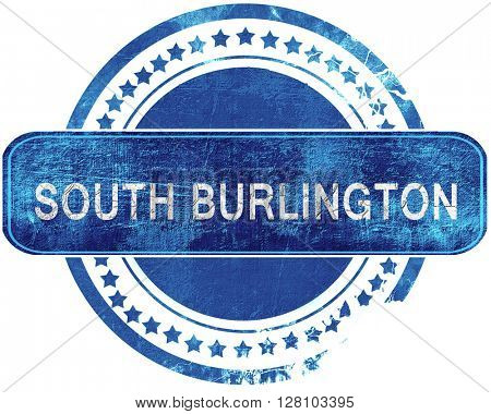 south burlington grunge blue stamp. Isolated on white.