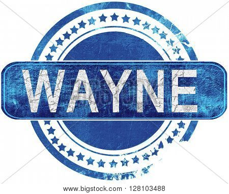 wayne grunge blue stamp. Isolated on white.