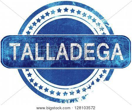 talladega grunge blue stamp. Isolated on white.