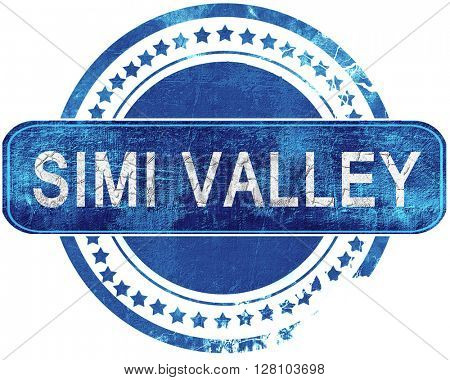 simi valley grunge blue stamp. Isolated on white.