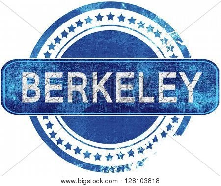 berkeley grunge blue stamp. Isolated on white.