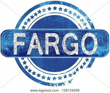 fargo grunge blue stamp. Isolated on white.