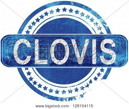 clovis grunge blue stamp. Isolated on white.