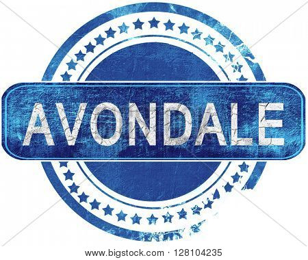 avondale grunge blue stamp. Isolated on white.