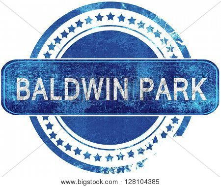 baldwin park grunge blue stamp. Isolated on white.