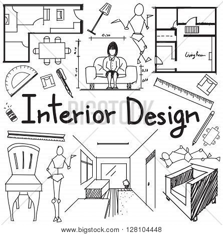 Interior design and building blueprint profession and education handwriting doodle tool sign and symbol in white isolated background paper for subject or presentation title create by vector