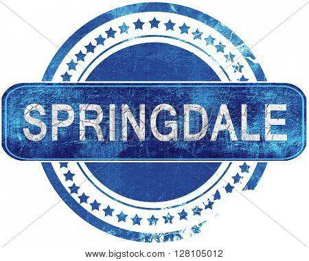 springdale grunge blue stamp. Isolated on white.