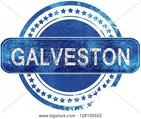 galveston grunge blue stamp. Isolated on white.