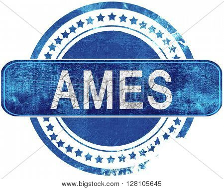 ames grunge blue stamp. Isolated on white.