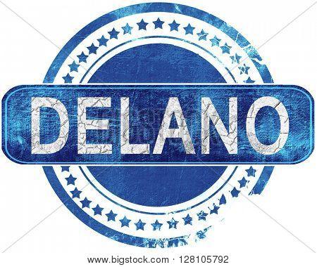 delano grunge blue stamp. Isolated on white.