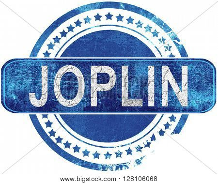 joplin grunge blue stamp. Isolated on white.
