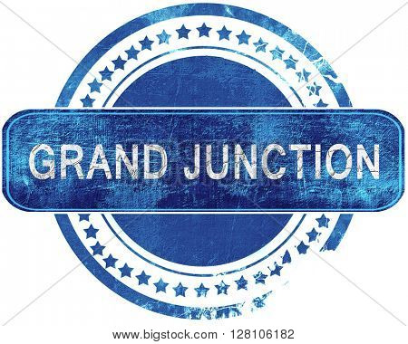 grand junction grunge blue stamp. Isolated on white.