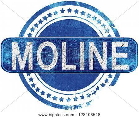 moline grunge blue stamp. Isolated on white.