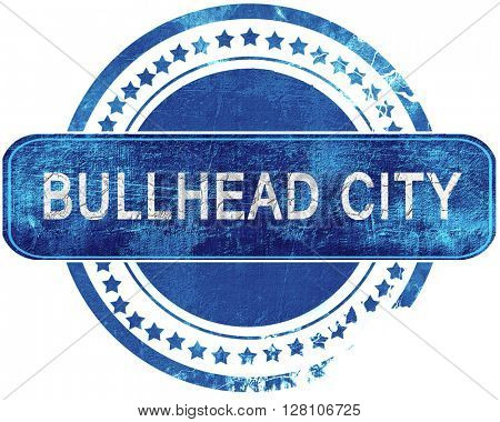 bullhead city grunge blue stamp. Isolated on white.