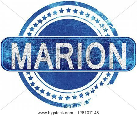 marion grunge blue stamp. Isolated on white.