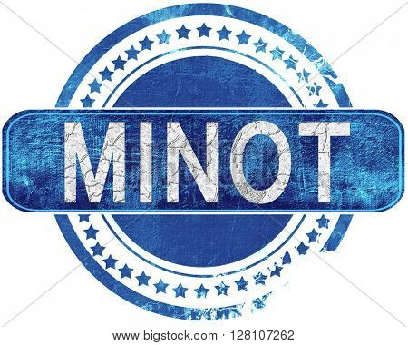 minot grunge blue stamp. Isolated on white.