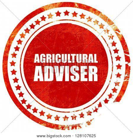 agricultural adviser, red grunge stamp on solid background