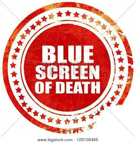 blue screen of death, red grunge stamp on solid background