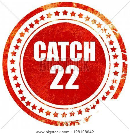 catch, red grunge stamp on solid background