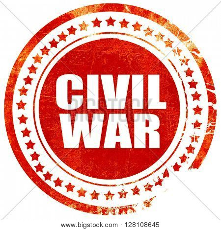 civil war, red grunge stamp on solid background