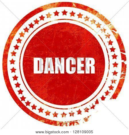 dancer, red grunge stamp on solid background