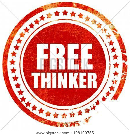 free thinker, red grunge stamp on solid background