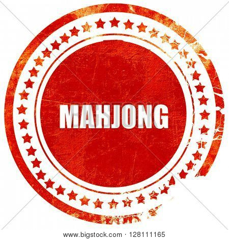 mahjong, red grunge stamp on solid background
