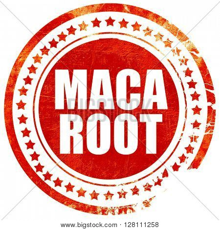 maca root, red grunge stamp on solid background