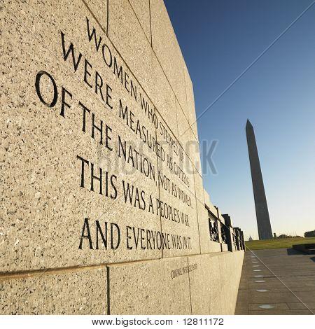 World War II Memorial with Washington Monument in Washington, D.C., USA.