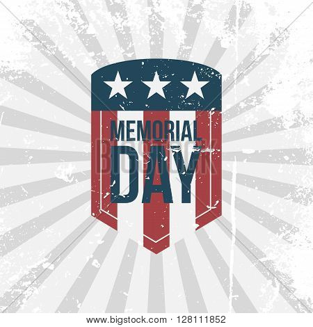 Memorial Day partiotic retro Label. Text on grunge Shield with Flag. Vector Illustration