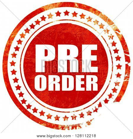 pre order, red grunge stamp on solid background
